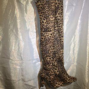 Shoes - Gorgeous New Leopard Print Thigh High Boots Sz 6!